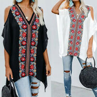 Summer Women Plus Size Tunic Top V Neck Cold Shoulder Floral Club T Shirt Blouse