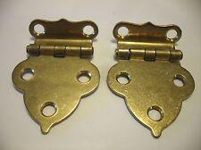 """Vintage NOS Solid BRASS Victorian Hoosier Cabinet Door HINGES 1/2"""" Offset"""