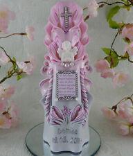 Taufkerze geschnitzt rosa mit Taufspruch oder Foto Engel Taufkerzen für Mädchen