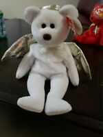 Ty Beanie Babies 2000 Halo II 2 White Angel Bear Gold Wings & mint Tags errors