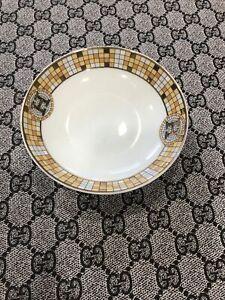 Hermes Small Round Dish Gold, Orange Geometric Pattern Round