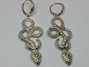 """3"""" John Hardy Legends Cobra Snake Drop Earrings Sterling Silver 18k Yellow Gold"""