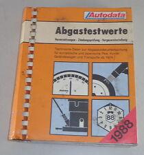 Handbuch Abgastestwerte für Audi / BMW / Porsche etc. ab 1974 Stand 1988