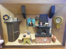 Vtg Wood Kitchen Diorama Painted Shadow Box Scene Wall Hanging Intricate
