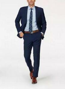 Bugatti Herren Anzug Set Schurwolle Sakko Hose Blau Business Stretch Hochzeit