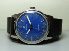 BLUE DIAL VINTAGE ENICAR WINDING SWISS MENS WRIST WATCH OLD USED ANTIQUE G818