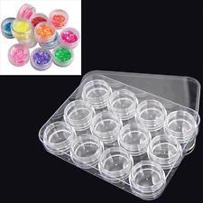 12x Storage Bottle Plastic Empty Box Case Pot For Nail Art Rhinestone Bead Gems