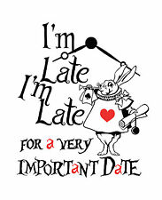 """Alice in Wonderland """"Late for Date"""" Typography Decorative Vinyl Wall Sticker"""