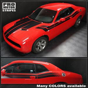 Dodge Challenger 2008-2019 Hood, Fender, Side Dual Stripes Decals (Choose Color)