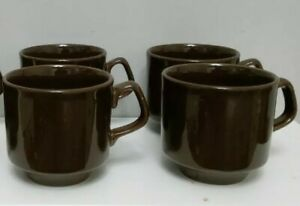 Vintage Brown Glazed Coffee Cups Stackable Set Of 4 Made In England