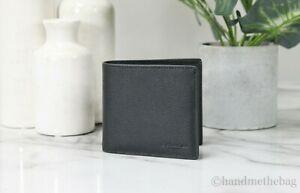 Coach F75084 Men's Black Pebbled Leather Double Billfold Sport Wallet