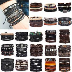 6pcs/set Men Punk Multilayer Bracelet Leather Wrap Braided Wristband Bangle Hot