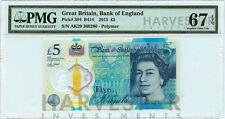 2015 GREAT BRITAIN £5 POLYMER BANKNOTE - CERTIFIED PMG 67 EPQ - SUPERB GEM UNC