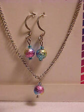 Colored Foil Bead Necklace Earrings Set of 2 Carnival Color Silver Cable Chain