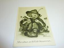 Alte Originale Hummel Karte Schwarz weiß gezackter Rand NR S 35 Müller unbesch.