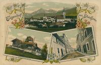 Ansichtskarte Teigendorf mit Staufen 1914 Schiesstätte Total Strasse  (Nr.813)