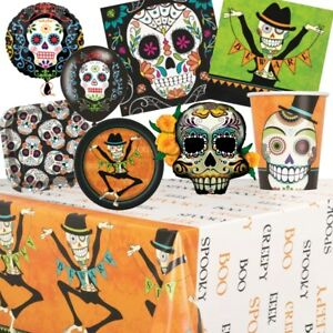 Day of The Dead Sugar Skull Halloween Party Supplies Tableware, Decorations