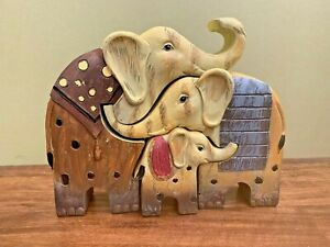 Elephant Family of 3 Ornament, Resin Quirky Home Decor, Great Gift!