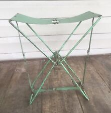 VINTAGE METAL SMALL FOLDING CAMP SEAT CHAIR