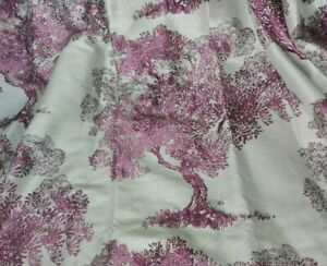 """CURTAINS Interlined Silk EMBROIDERED FLORAL  purple 147""""W 70""""D Heavy Wide £1200"""