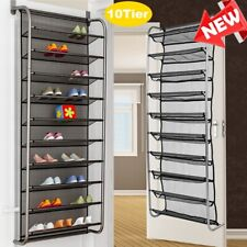 10 Tier Over The Door Shoe Organizer Clear Metal Mesh Shoes Storage Hanging Rack