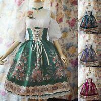 Women Vintage Dress Medieval Renaissance Lolita Princess Pleated Prom Dresses US