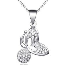 """18"""" Chain 925 Sterling Silver Topaz Butterfly Pendant Necklace Gift Box L34"""