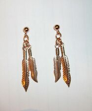 Dangle Copper  Earrings NWT  Two  Feathers Post Southwest / Western / Native Ame