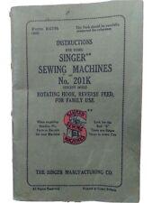 Vintage 1940's Singer 201-k Sewing Machine Manual Instruction Book - good used