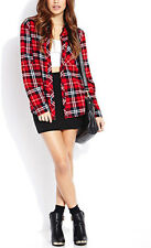 Celebrity Style Check Print Plaid Tartan Blouse Shirt With Long Sleeves UK6,8,10