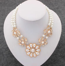 Crystal Pearl Flower Pendant Choker Bib Chain Collar Necklace