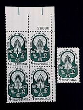 US Stamps, Scott #1156 Forestry Issue 1960 4c Plate Block & single XF M/NH