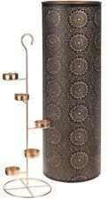 49cm Tall 5 Tier Tea Light Stand Tea Light Candle Holder in Black & Gold Housing
