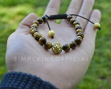 Beaded Bracelet Semi Precious Stone - Lion's Head w/ 'Tiger Eye' stones