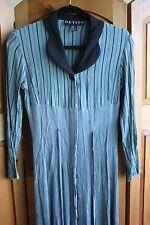 Vintage 1980's Crepe Long Full Length Black Muted Blue Gray Dress Shirt Dress 4