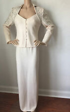 ST JOHN KNIT EVENING SIZE 4 WHITE CREAM & SILVER LONG SKIRT JACKET SUIT