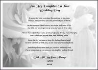 Mum to Daughter / Bride Wedding Day Poem Gift , Keep sake A5 Personalised