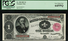 """1891 $1 Treasury Note Fr-350 - """"Stanton"""" - Pcgs 64Ppq - Very Choice New"""