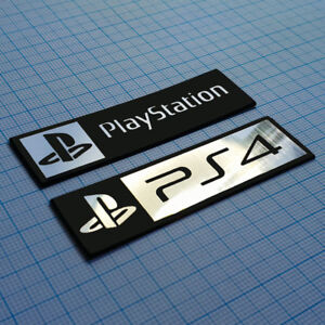 2 x PS4 Metallic Logo Sticker Badge - 70 mm / 20 mm