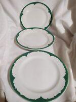 "3 Ceramic VTG Green Wave Restaurant Ware Side Bread Salad Plates Shenango 7"""