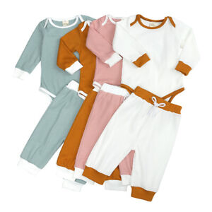 Solid Newborn Baby Boys Girls Long Sleeve Romper Tops + Pants Outfit Clothes Set