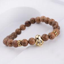 Men's CZ Star Wars Darth Vader Bracelets 8mm Wooden Stone Charm Bracelets Gifts
