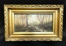 """Antique Hand Painted UNSIGNED Forest Scene 6"""" x 12"""" and Gold Frame 10"""" x 16"""""""