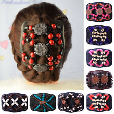 Women Vintage Beaded  Stretch Double Hair Comb Magic Hair Clip/Hairpin Headwear