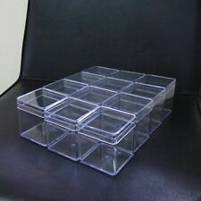 12 Empty Small Clear Plastic Boxes Tiny Items Crafts Miniature Storage 6x6x6.5cm