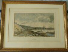 """Victorian Aquarelle """"Leyden"""" signé P Tetar Van elfique (1828-1908)"""