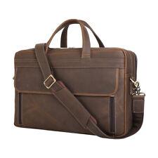 """Men's Leather 15"""" Laptop Briefcases Shoulder Bag Travel Hold on Trolley Handbag"""