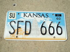 2002 KANSAS Capitol  License Plate SFD 666 KS Sumner