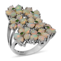 925 Sterling Silver Platinum Over Opal Diopside Flower Ring Gift Size 10 Ct 3.8