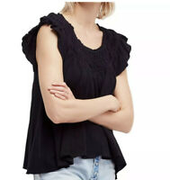 Free People Women's Blouse Black Size XS Knit Ruffle Trim Scoop-Neck $68